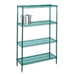 "21"" Green epoxy coatedwire 4 shelf unit"