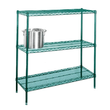 Coated Wire Shelving | 21 D Green Epoxy Wire 4 Shelf Unit By Olympic Shelving Com