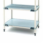 MetroMax Antimicrobial Heavy Duty polymer shelf in gray and blue with a ventilated grid mat