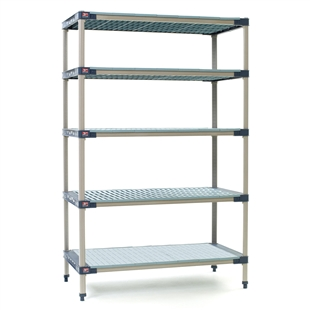 "18""d MetroMax 4 Antimicrobial 5-Shelf Units w/ Grid & Solid Mats"