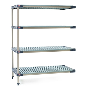 "18""d MetroMax 4 Antimicrobial 4-Shelf Add-On Units w/ Grid Mats"