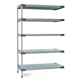 "21""d MetroMax 4 Antimicrobial 5-Shelf Add-On Units w/ Grid Mats"