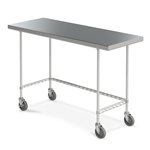 Mobile Stainless Steel Work Table w/ 3-Sided Frame