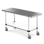 Mobile Stainless Steel Work Table w/ Bottom Shelf