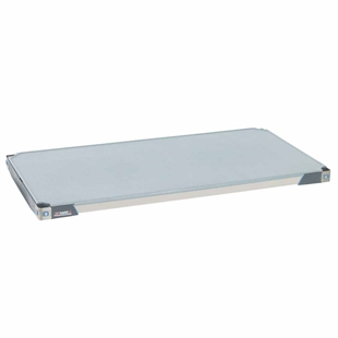 "18""d MetroMax Antimicrobial polymer shelf in gray and blue with a solid mat"
