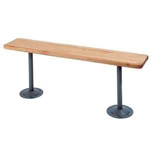 Penco Wood Locker Room Bench w/ Steel Tube Pedestal