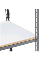 "Heavy Duty Boltless Rivet Shelves with White Melamine Laminate Decking from Nexel- 1/2"" thick"