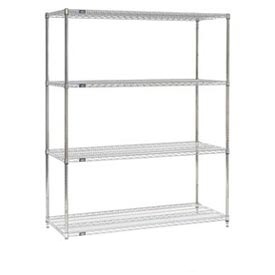 "24"" D Stainless Steel Wire Shelving with 4 Shelves"