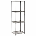 "Black Wire Shelving 18""d 4 Shelves - Nexel"