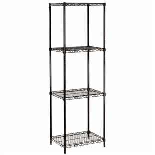 "Black Wire Shelving - 18""d with 4 Shelves - Nexel"