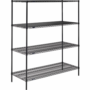 "Black Wire Shelving - 24""d with 4 Shelves - Nexel"