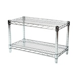 "Industrial Wire Shelving Unit with 2 Shelves - 14""d"