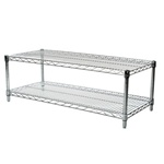 "Industrial Wire Shelving Unit with 2 Shelves - 18""d"