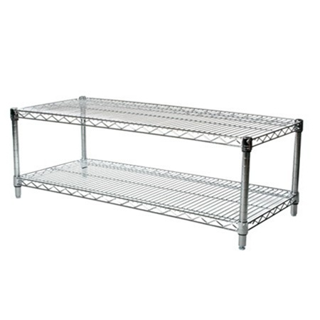 Depth Chrome Wire Shelving Unit with 2 Shelves