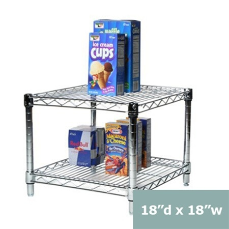 18 Quot Depth Chrome Wire Shelving Unit With 2 Shelves