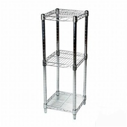 "Industrial Wire Shelving Unit with 3 Shelves - 8""d"