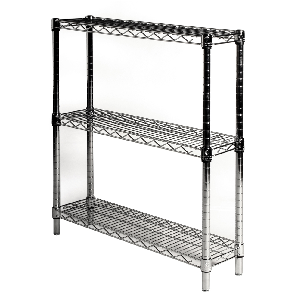 8 depth wire shelving unit with 3 shelves shelving inc. Black Bedroom Furniture Sets. Home Design Ideas