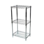 "Industrial Wire Shelving Unit with 3 Shelves - 12""d"