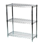 "Industrial Wire Shelving Unit with 3 Shelves - 14""d"