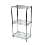 "Industrial Wire Shelving Unit with 3 Shelves - 18""d"