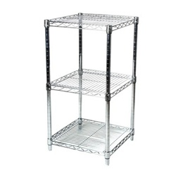 "Industrial Wire Shelving Unit with 3 Shelves - 24""d"