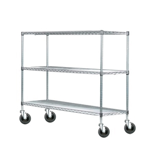 "12""d Chrome Wire Carts w/ 3 Shelves"