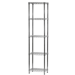 "Wire Shelving Unit w/ 5 Shelves - 12""d x 18""w"