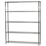 "Wire Shelving Unit w/ 5 Shelves - 12""d x 60""w"