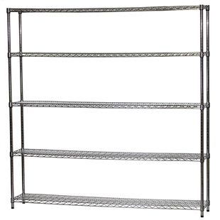 "Wire Shelving Unit w/ 5 Shelves - 12""d x 72""w"
