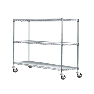 "14""d Chrome Wire Carts w/ 3 Shelves"