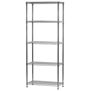 "Industrial Wire Shelving Unit with 5 Shelves - 14""d x 30""w"