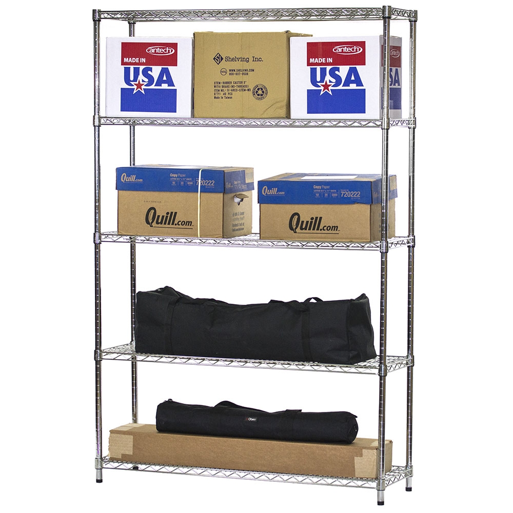 Wire Shelving Unit with 5 Shelves - 14\