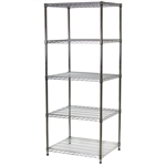 "Industrial Wire Shelving Unit with 5 Shelves - 24""d x 30""w"