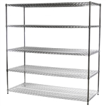 "Industrial Wire Shelving Unit with 5 Shelves - 30""d x 72""w"