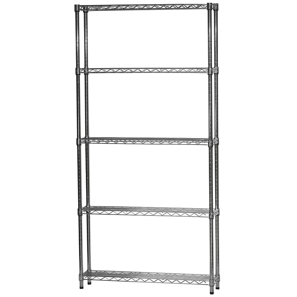 8 D X 36 W Chrome Wire Shelving Unit With 5 Shelves