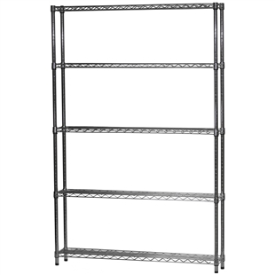 "Industrial Wire Shelving Unit with 5 Shelves - 8""d x 48""w"