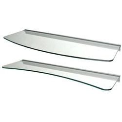 "Set of 2 Clear Glass Wall Shelves - 1 Concave & 1 Convex - 24"" wide with rail mounts"