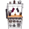 "14""d x 36""w x 72""h Bakers Rack w/ Butcher Block Top and Wine Rack, Wire Shelving Unit"