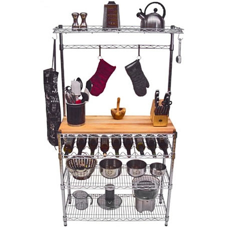 The Honey Can Do 65 Bakers Rack With Cutting Board And Hanging Storage Comes In Handy As A Jack Of All Trades Its Look Adds To Your Kitchen