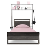 Over the bed vertical storage unit with two shelves