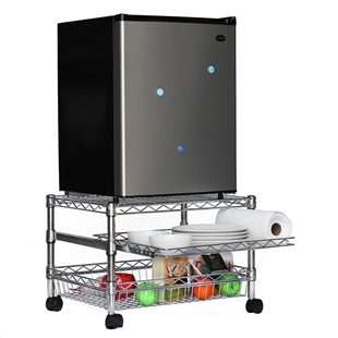 A short three shelf cart holding up a mini fridge.