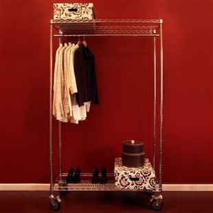 Wire shelving mobile closet with shelves, casters, a set of posts, and a coat-rod kit.