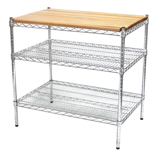 Chrome wire shelving island with a butcher block top