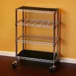 "Chrome Kitchen Kit 14""d x 24""w x 34""h Wine Cart"