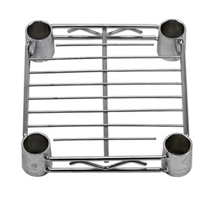 "Individual 8""d chrome wire shelf, also called a wire rack or metal shelf"