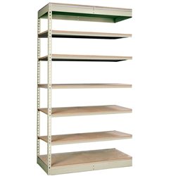 "36""d Rivetwell Single Rivet Add On Shelving Units with 7 Levels"