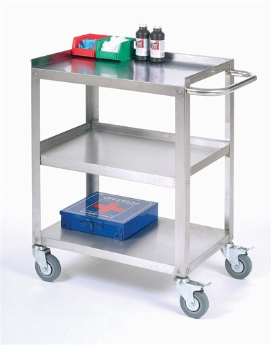 Stainless Steel Push Cart W/ Handle, 3 Shelves  Nexel
