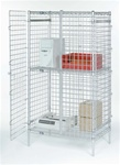 Nexel wire shelving security unit with lockable doors