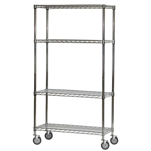 "4-Shelf Chrome Wire Carts - 12""d x 36""w"