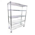 "12""d x 60""w - 5 Shelf Chrome Wire Cart with 3"" Casters"